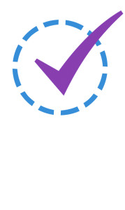 Check Mark in Dashed Circle - Purple Blue