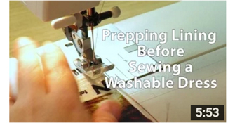 image how to use lining fabric - preparing it for a washable dress