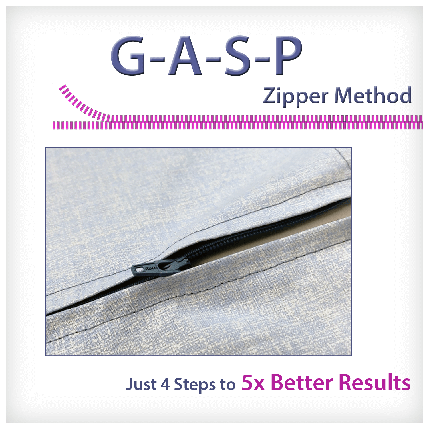 GASP zipper sewing method graphics