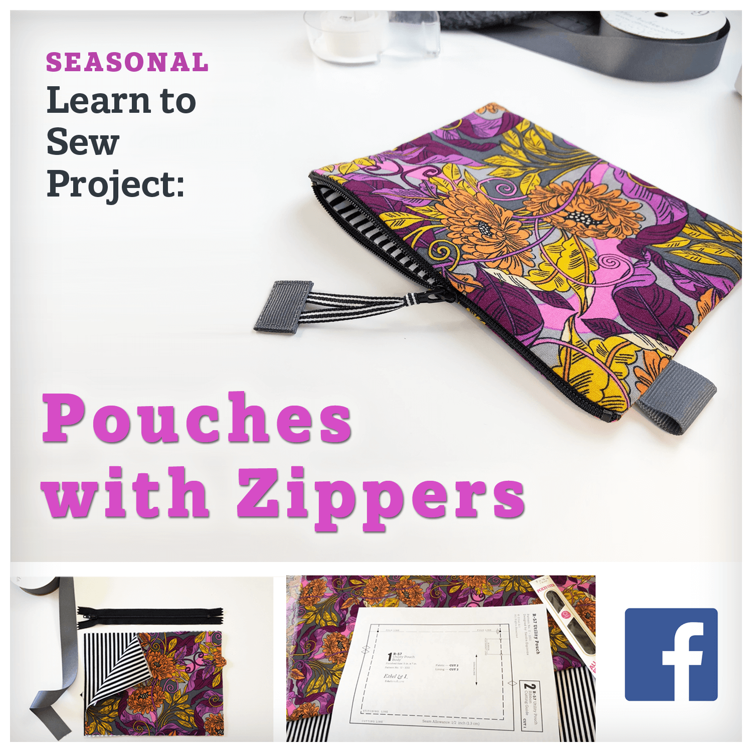 image of how to sew pouches with zips facebook group